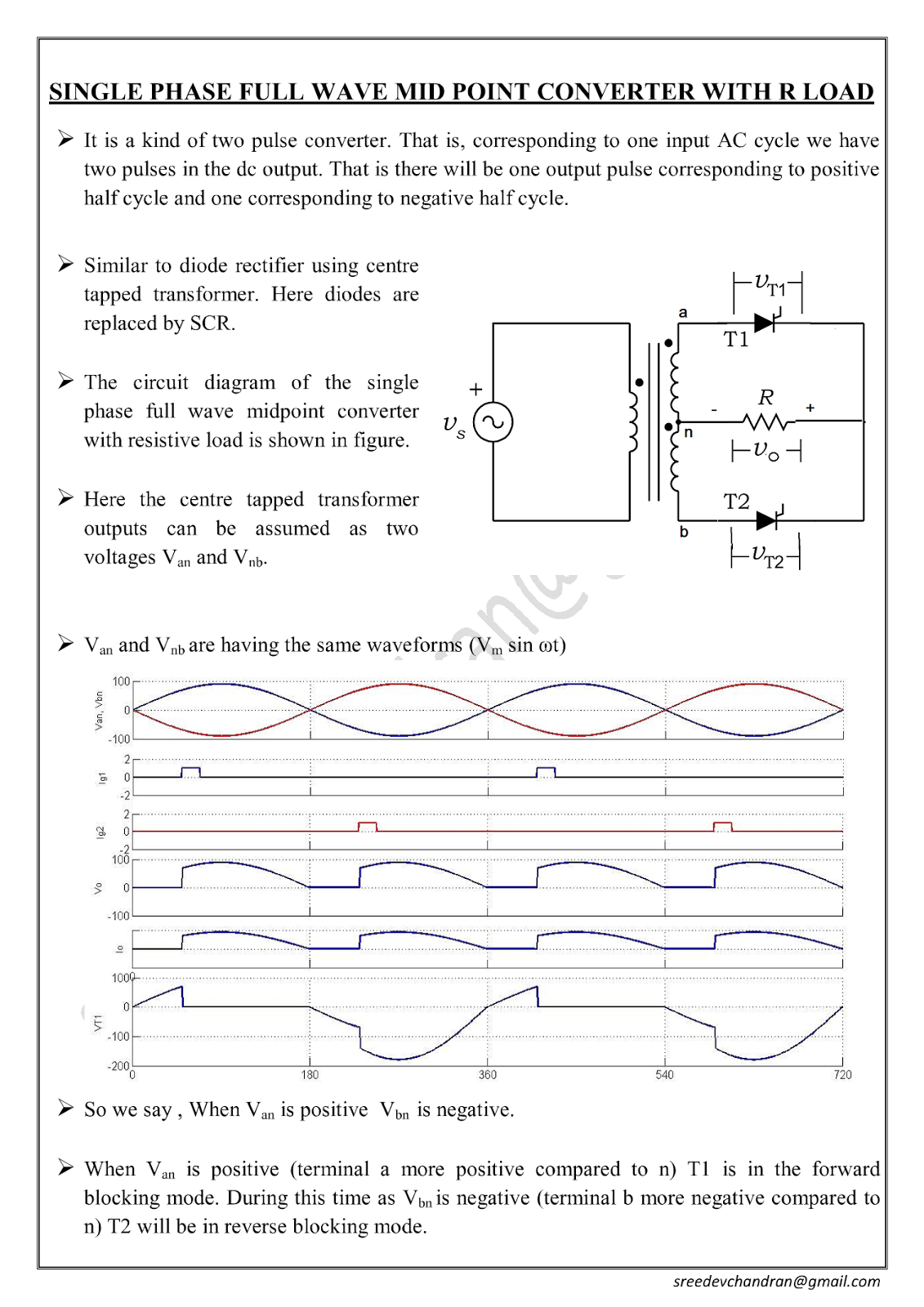 Power Electronics Notes Single Phase Midpoint Converter With R Rl Fullwave Bridge Rectifier Circuit Click Here To Down Load Full Wave Loads