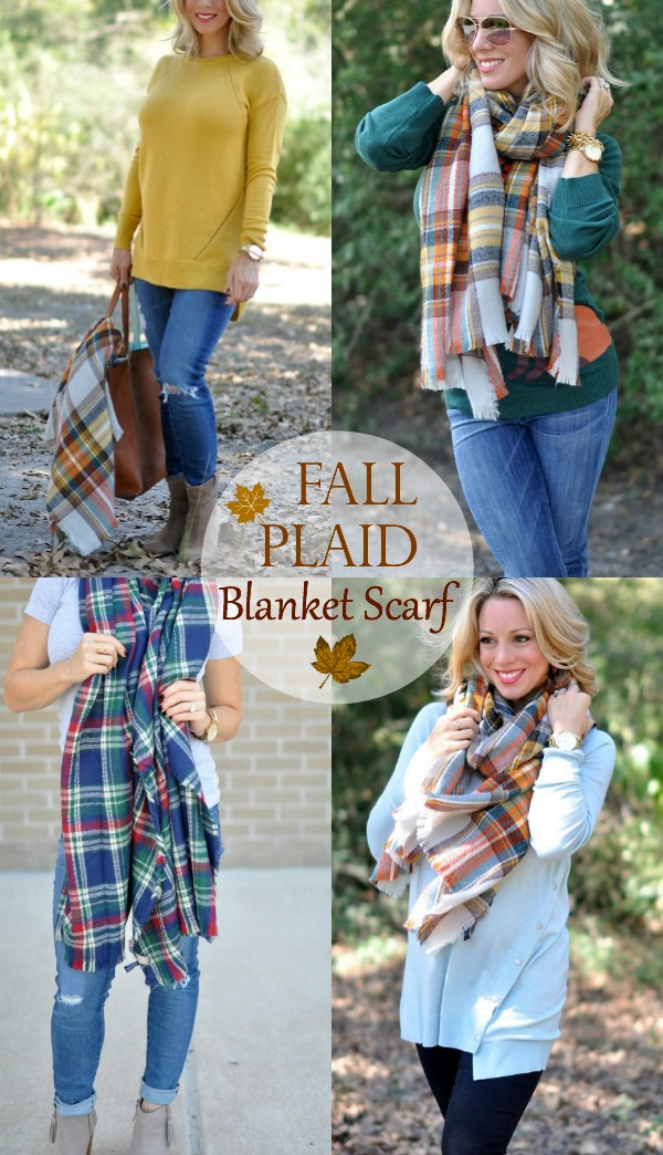 Fall fashion - loving the plaid blanket scarf, so many ways to wear and under $25! | Honey We're Home