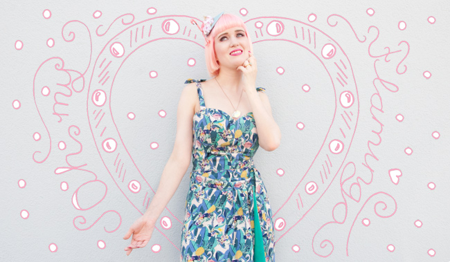 Collectif Clothing, Tropical Print, Flamingo fascinator