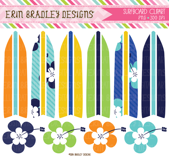 Erin Bradley Designs: Surfboard Graphics, Bunting, Washi Tape & More!