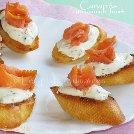 Les plats roumaines canap s au saumon fum for Canape saumon