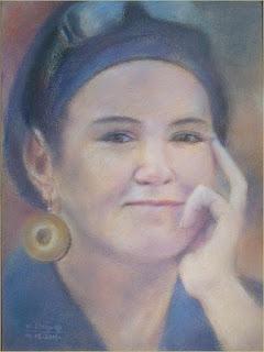 portret młodej kobiety namalowany pastelami przez Marka Stójwąsa