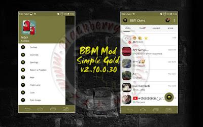 BBM Mod Versi 2.10.0.30 Tema Simple Gold Terbaru