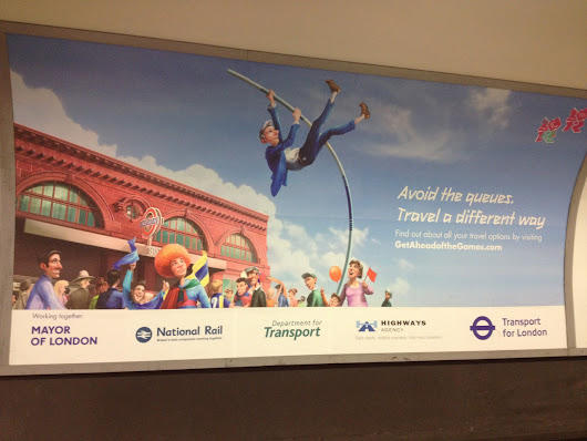 London Underground Olympics transport pole-vault poster