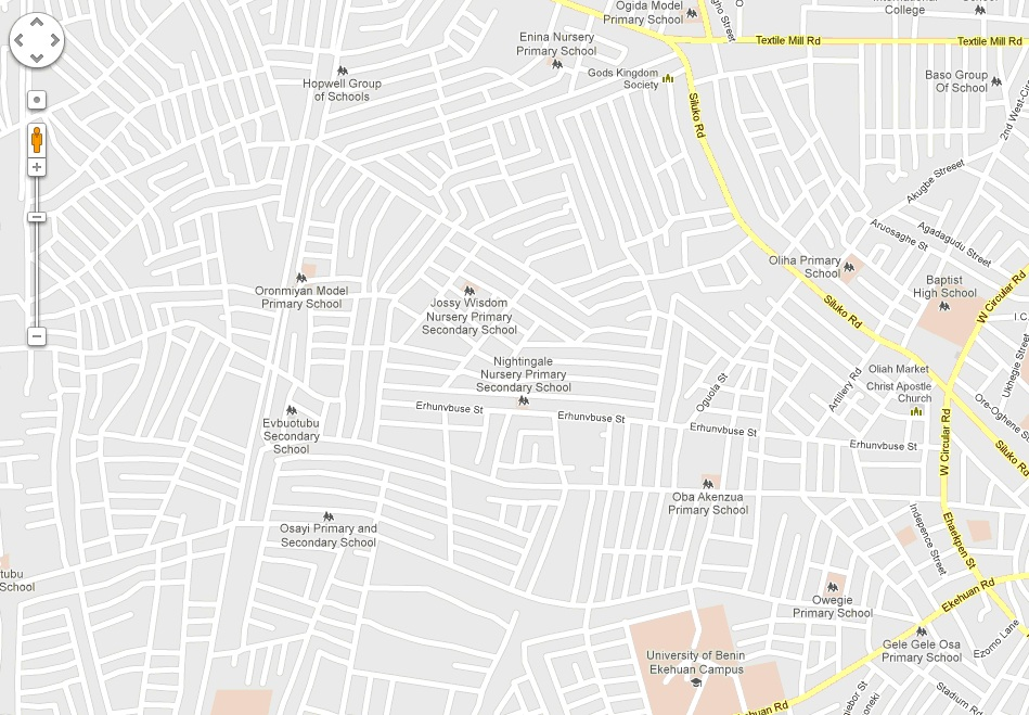 Benin City Street Map