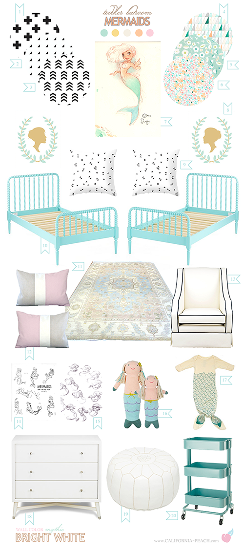 Mermaids || on California Peach || Twins Shared Room Toddler Kids Interior Design Style Board