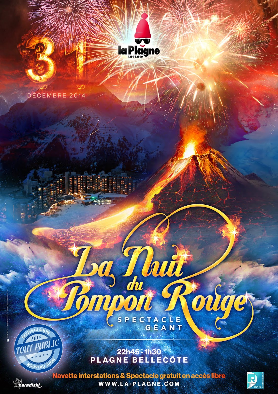 affiche+nuit+pompon+rouge+Soirée+Nouvel+An+LaPlagne