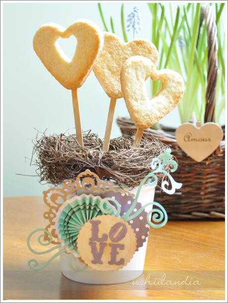 kruche popcakes - ciastka na patyku; walentynka  - scrapbooking ushii