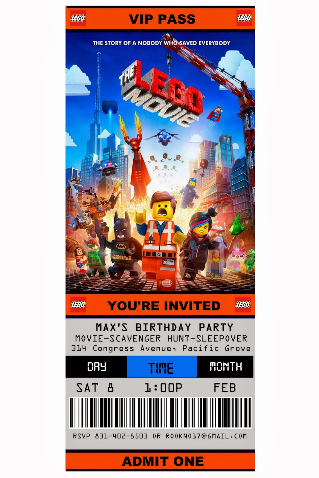 free printable ticket style party invitations the lego movie