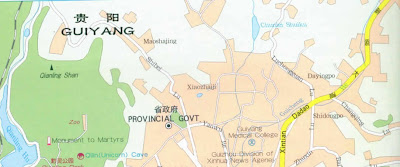 Guiyang City Map of China