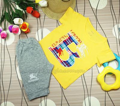 Bộ Burberry dành cho bé Nam màu vàng - Babystyle.com.vn