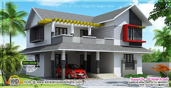 February 2014 kerala home design and floor plans for Sloped roof house plans in india