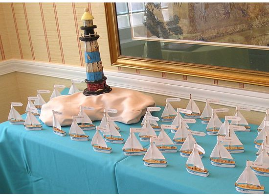 Sailboats On Table With Lighthouse Island The Escort Card