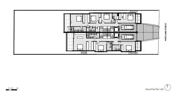First floor plan of Portland Street Duplex by MPR Design Group