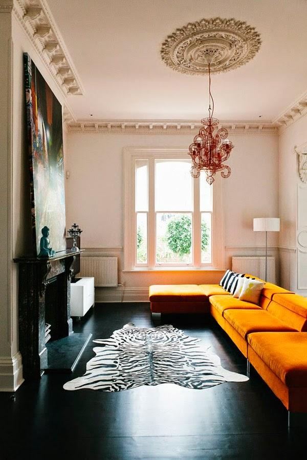 12 ideas para combinar un sof naranja 12 ideas to - Alfombras salon modernas ...