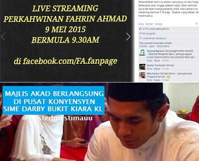 Siaran Langsung Akad Nikah Fahrin Ahmad 9 30 pagi hari ini 9 Mei 2015