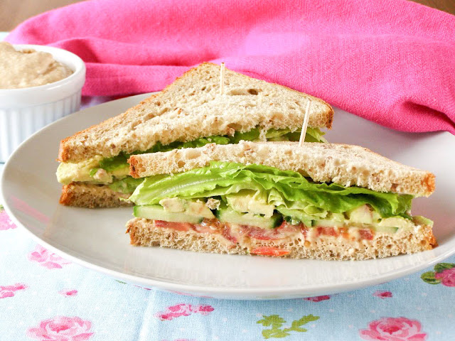 Garden Fresh Summer Mint Sandwich with Zesty Cannellini Bean and Cashew Houmous