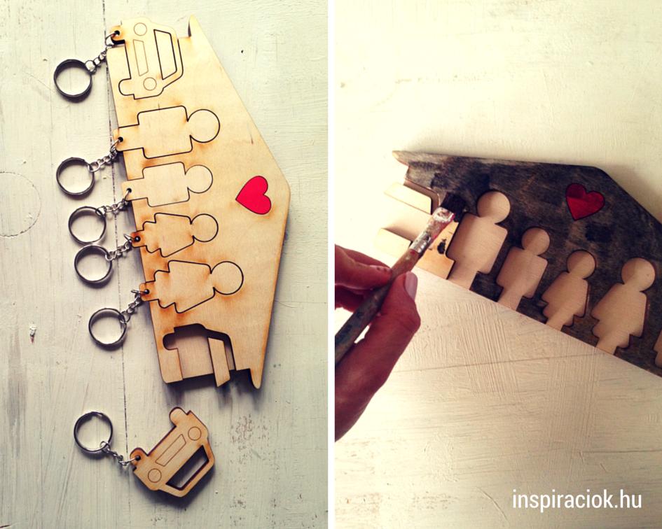 kreatív ajándék családi kulcstartó