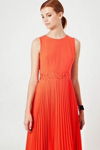turuncu pileli elbise modeli uzun