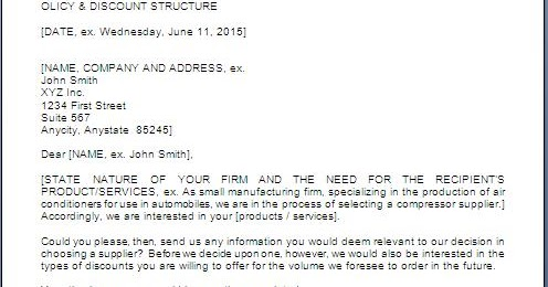 Request For Price Quotation Letter Sample