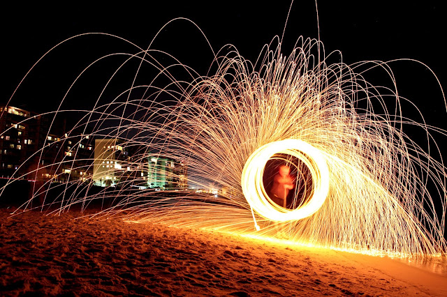 Burning some steel wool on the beach in Destin, Florida.