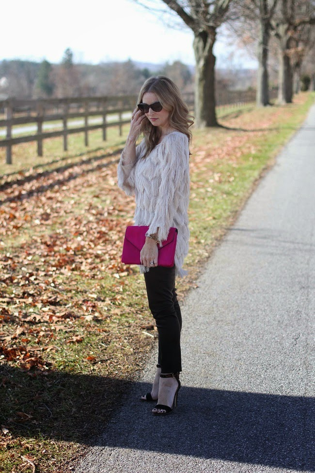JOA fringe top, Loeffler Randall clutch, JCrew leather leggings, Club Monaco heels, Saint Laurent sunglasses