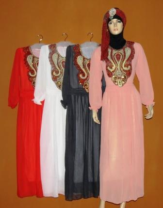 Gamis Sifon Aplikasi Renda Gs044 Grosir Baju Muslim