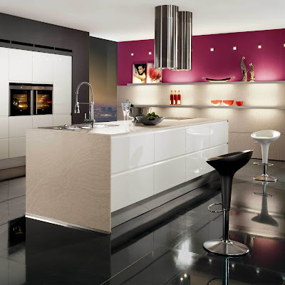 modern kitchen in pink and white-stove and refrigerator