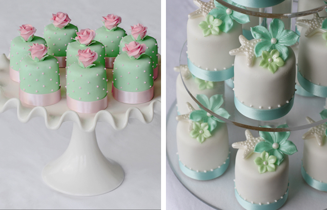 Beautiful Bridal Pink And Green Mini Wedding Cakes