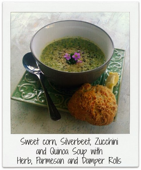 Chamomile and Peppermint blog - Sweet corn, Silverbeet, Zucchini and Quinoa Soup with Herb, Parmesan and Damper rolls