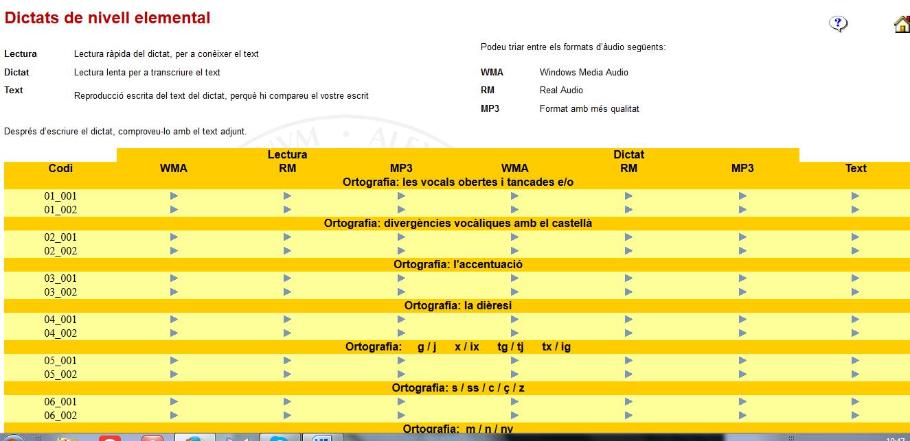 http://www.uv.es/spl/v/aprendre/dictats/dictats_elemental.html
