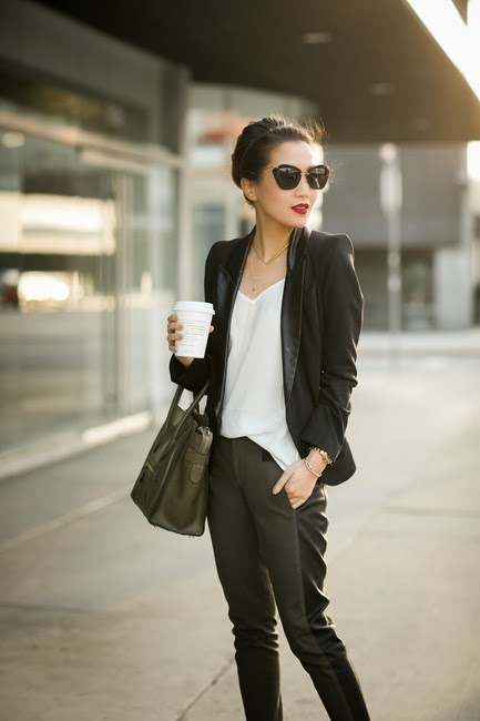 see more Gorgeous scarf, sweater and leather tights for fall sunglasses handbag beige long burgundy clothing women style