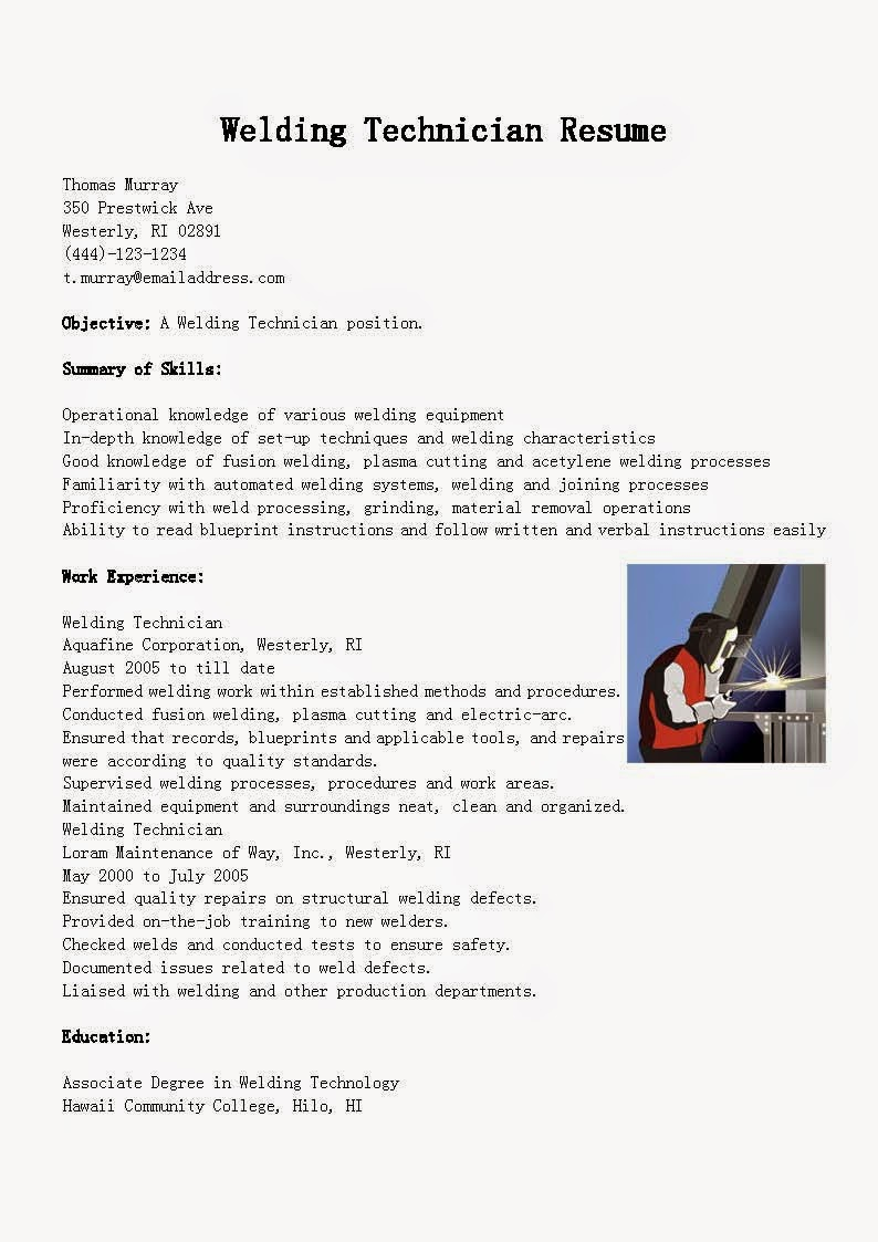 resume samples  welding technician resume sample
