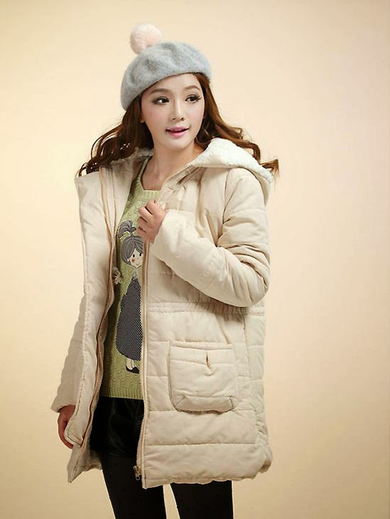 Wool Collar Long Sleeve Zipper Front Thickening Warm Coat