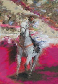 Emilio García Salazar es un diseñador gráfico con mucha trayectoria en el mundo de la charrería que transforma sus fotografías de escaramuzas y charros en obras de arte que parecen pinturas llenas de color y frescura.