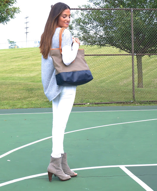 vince cashmere sweater, white blank jeans, tory burch bag