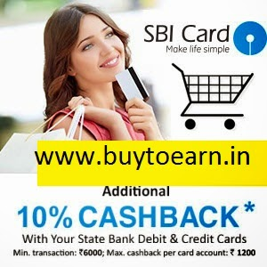 SBI Credit & Debit Cards 10% Cashback on Rs. 3000 at Snapdeal