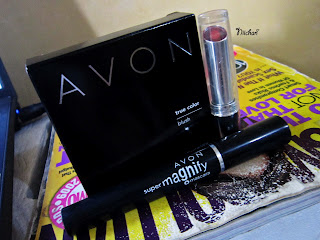 Avon, blush-on, mascara, lipstick
