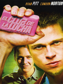 Cartel de la película 'El club de la lucha' ('Fight Club'), dirigida por David Fincher y protagonizada por Edward Norton, Brad Pitt y Helena Bonham Carter. Revista Making Of. Películas de cine