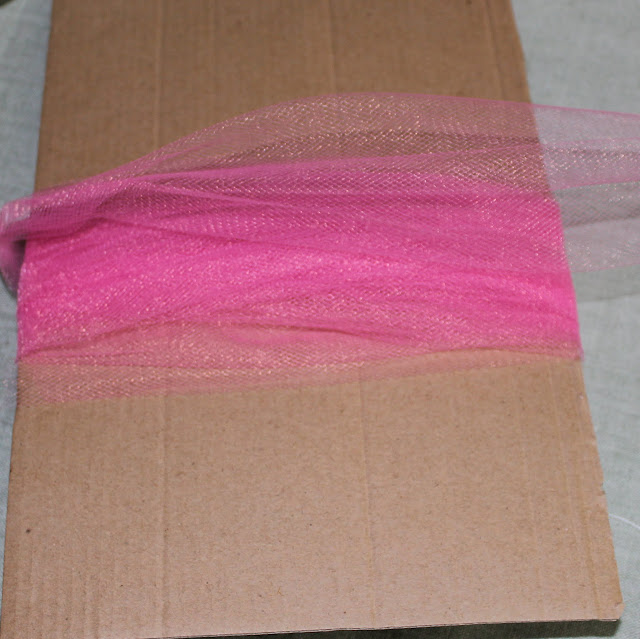wrapping tulle on cardboard