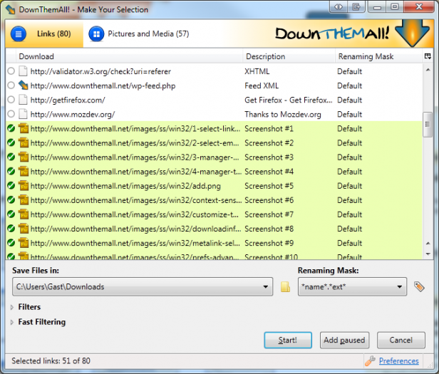 DownThemAll! Software Downloader Alternatif IDM