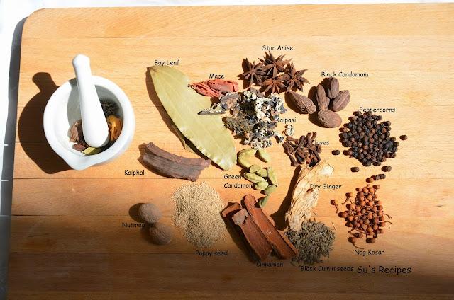 garam masala, cardamom, kaiphal, nutmeg, poppy seeds, cinnamon, nag kesar, dry ginger, peppercorns, black cardamom, mace, bay leaf, kalpasi, star anise
