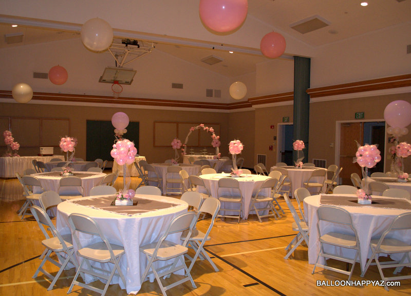 Balloon happy az wedding in pink and white for Balloon decoration for weddings