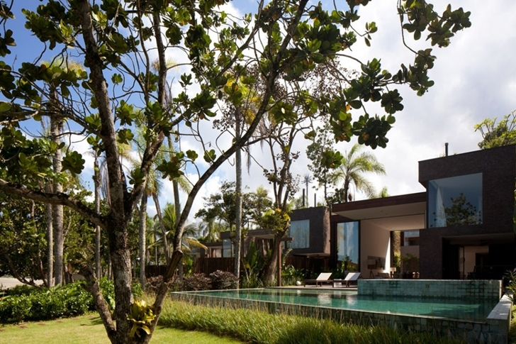 Trees around Modern beach house in Brazil