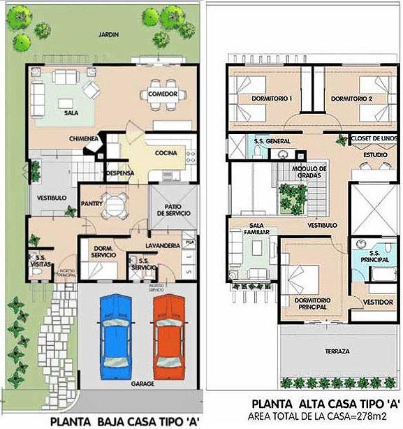 Casa de 2 plantas 278m2 en total planos de casas gratis for Planos de casas campestres de dos plantas