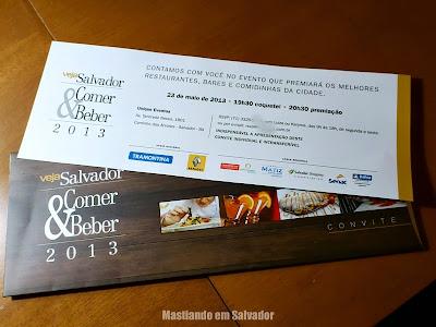 O convite para a cerimônia de premiação dos eleitos pelo júri da Veja Salvador Comer & Beber 2013/2014