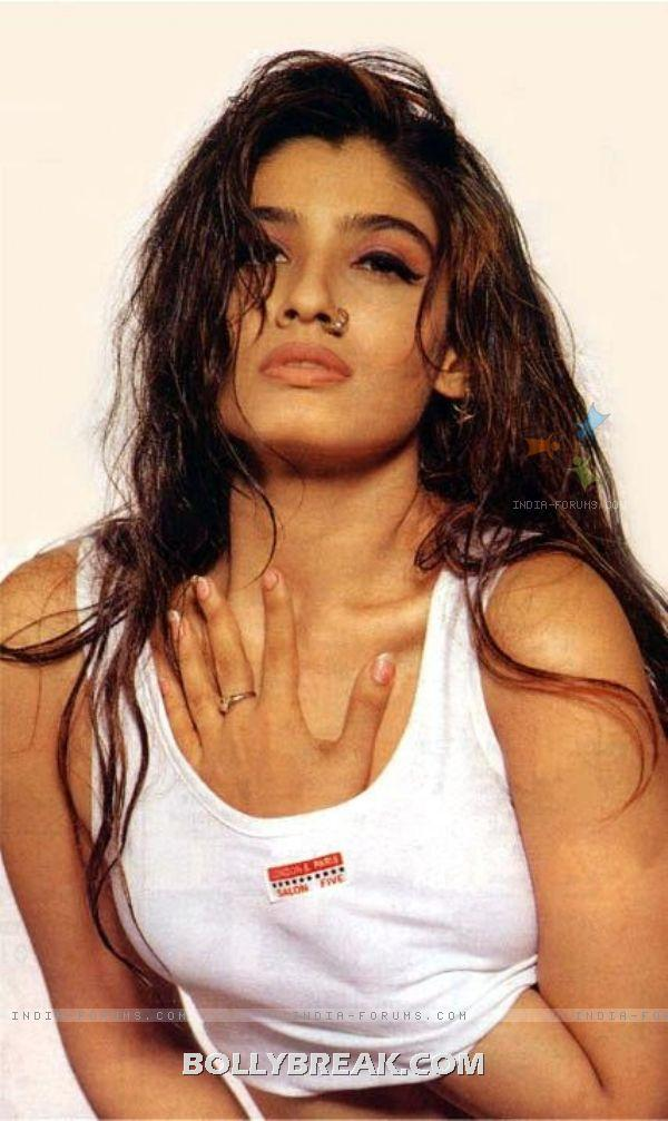 Raveena Tandon hand in white top  - Raveena Tandon hot Old Pics from 90&#39;s Magazines