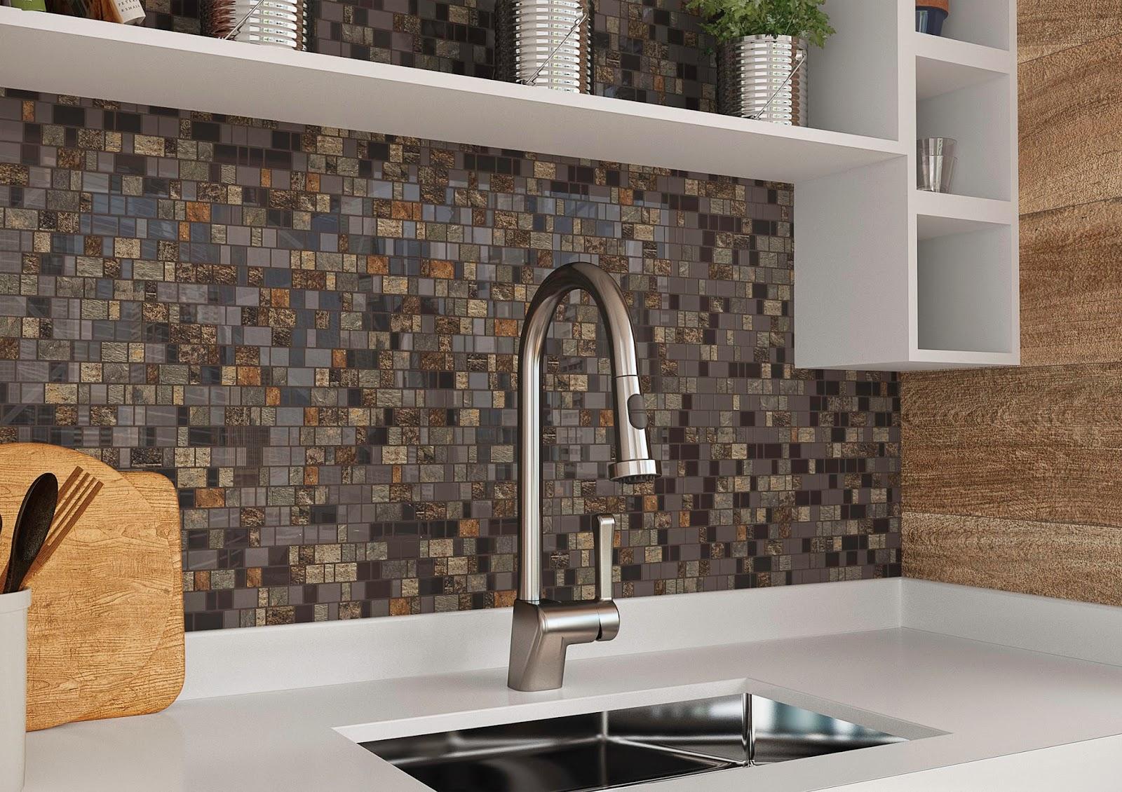projeto de cozinha com o mosaico MC Stone BW - lançamentos 2015 da Cerâmica Portinari