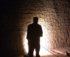 Dr. Pauly among the ruins at Huaca Pucllana, Lima, Peru