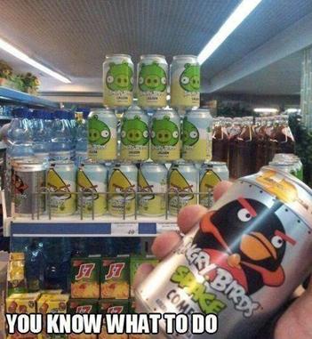Kartun Lucu Angry Birds di Supermarket
